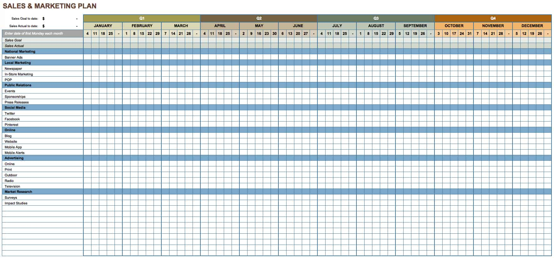 Sales And Marketing Plan Template For Excel