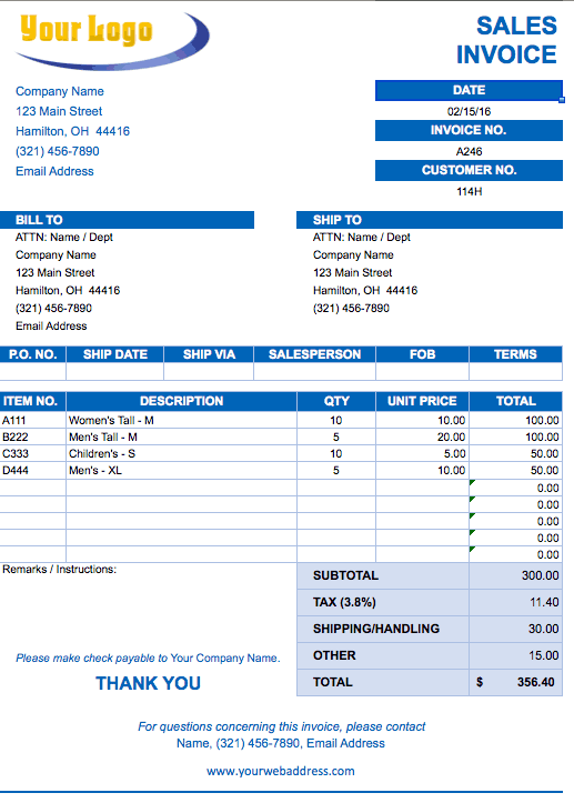 free sales invoice template excel  Free Excel Invoice Templates - Smartsheet