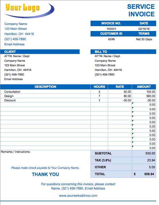Free Excel Invoice Templates Smartsheet - Ms word invoice template doc for service business