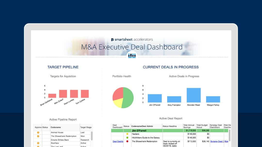 M&A Executive Deal Dashboard
