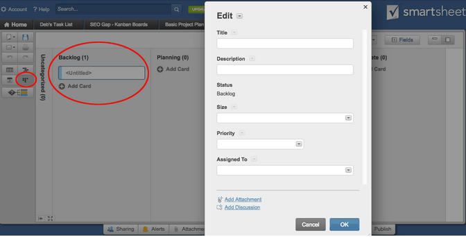 how to edit a card in smartsheet