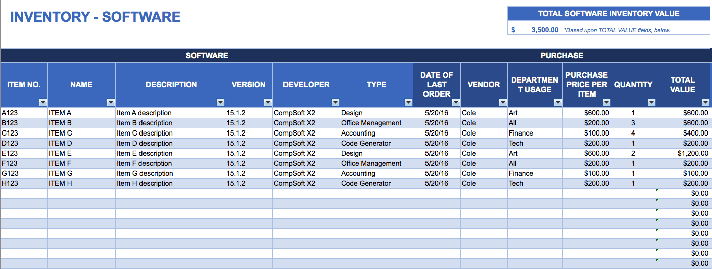 Free Excel Inventory Templates. Software Inventory Template. Worksheet. Inventory Worksheet At Mspartners.co