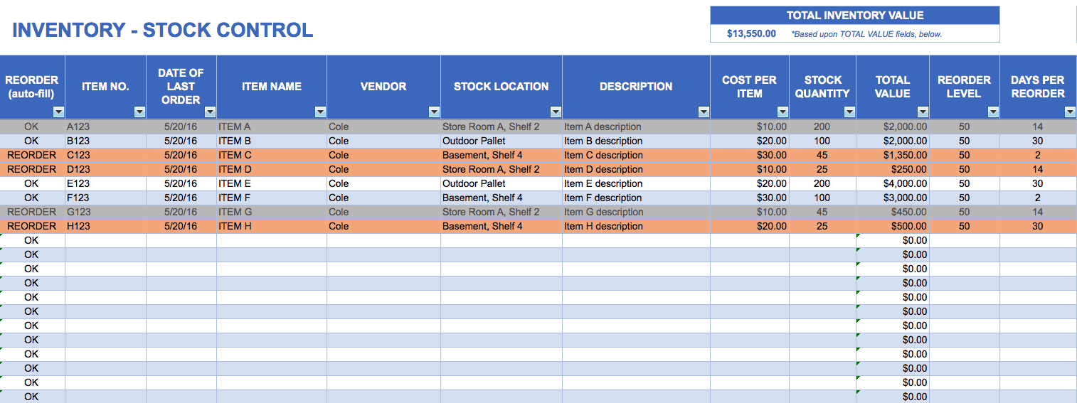 Free excel inventory templates for 3pl rfp template
