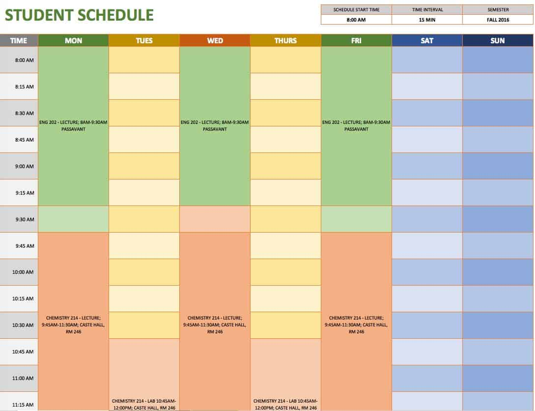 Free weekly schedule templates for excel smartsheet student schedule template maxwellsz
