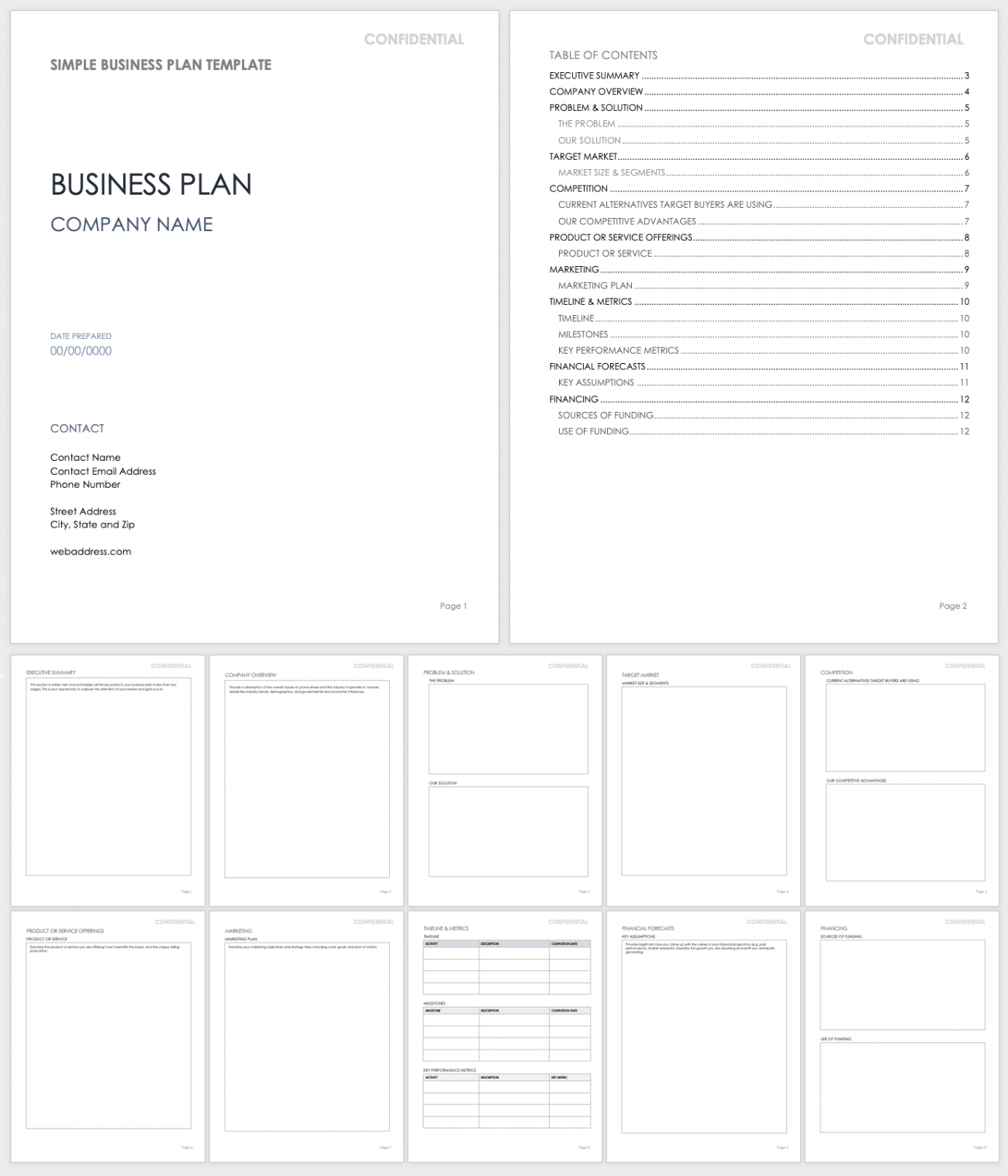 Free Simple Business Plan Templates   Smartsheet