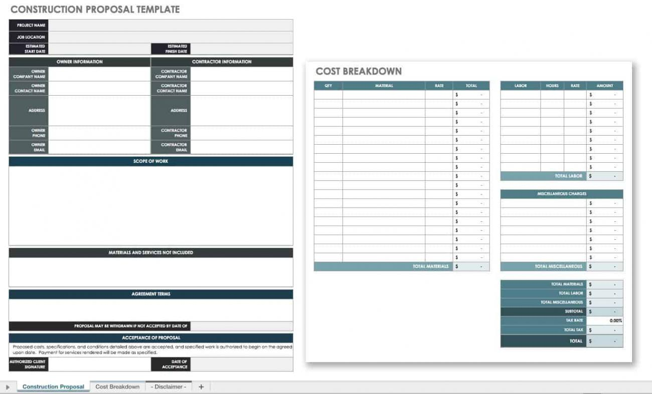 Free Construction Proposal Templates & Forms  Smartsheet Within Free Construction Proposal Template Word