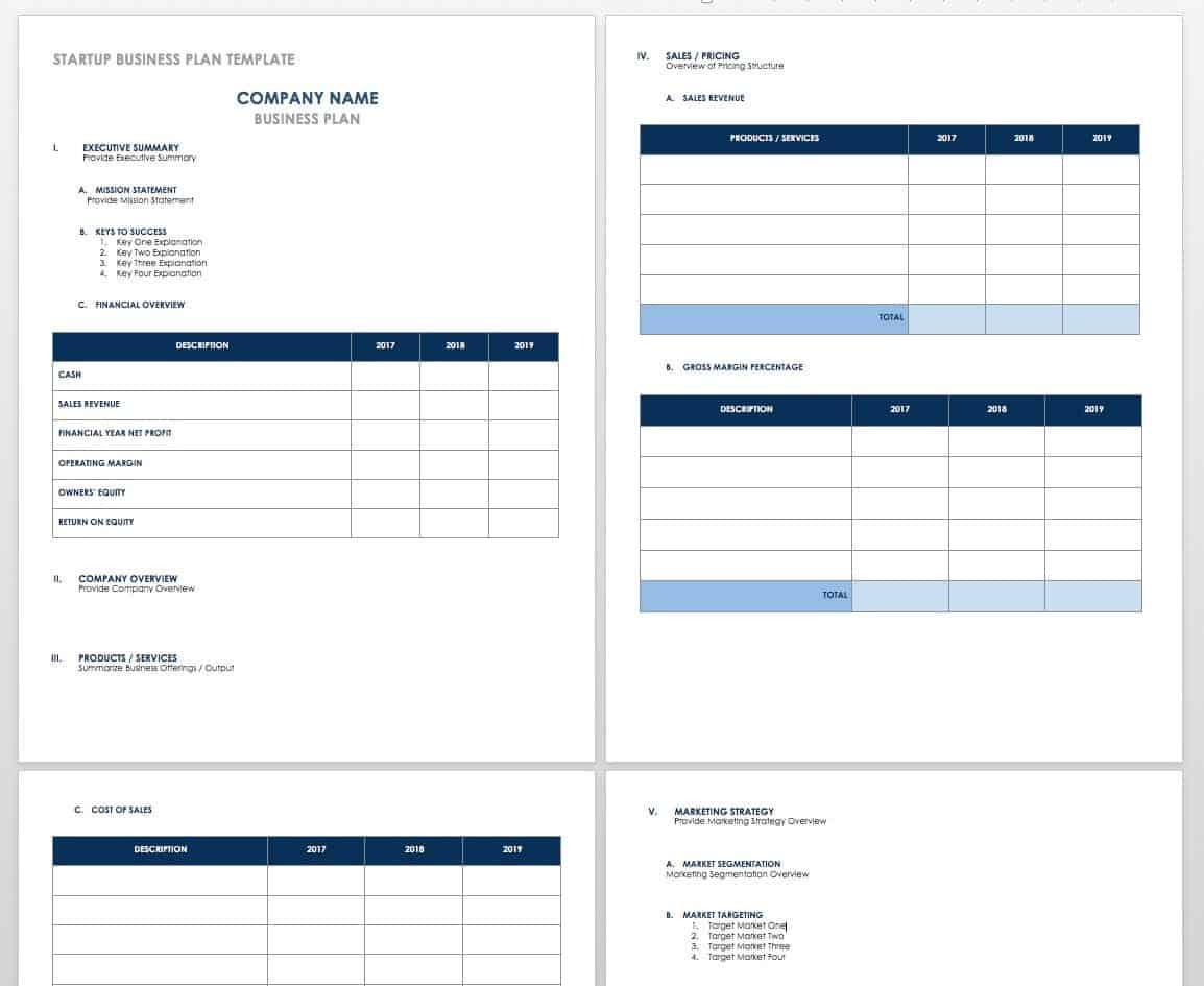 Free Startup Business Plan Templates   Smartsheet