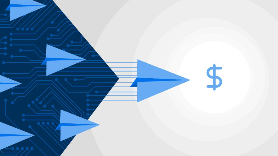 Graphic shows stylized paper airplane drawings moving toward a light blue dollar sign