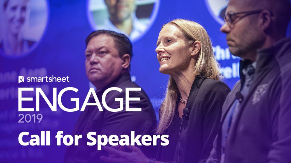 Speaker panel at Smartsheet ENGAGE customer conference