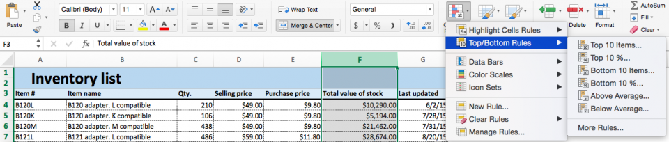 Conditional formatting top bottom rules Excel