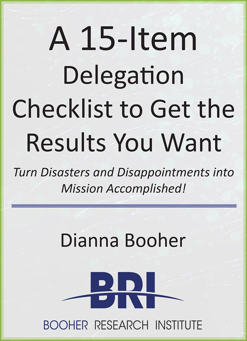 15 Item Delegation Checklist by Dianna Booher