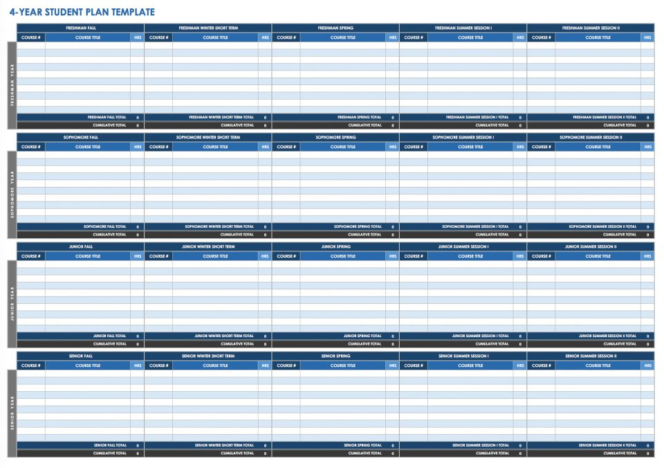 College Course Planning Template from www.smartsheet.com