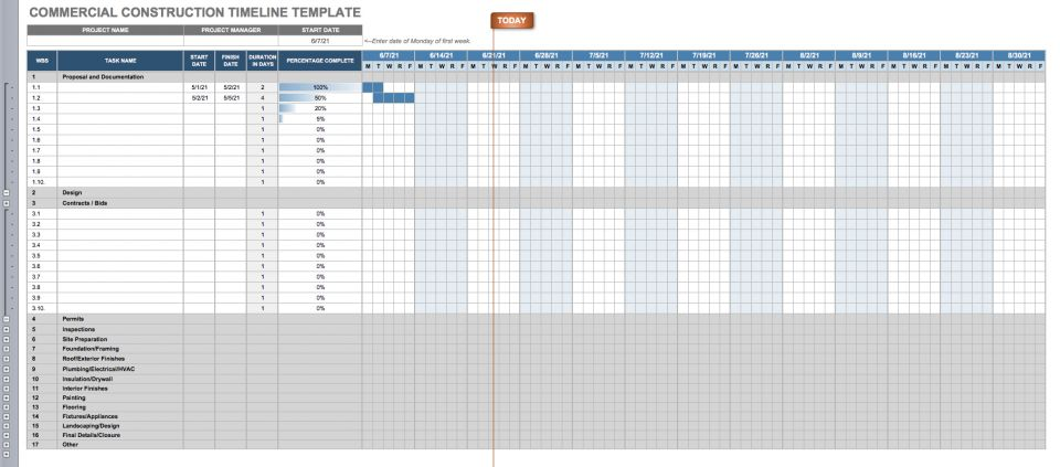 Construction Timeline Template Collection | Smartsheet