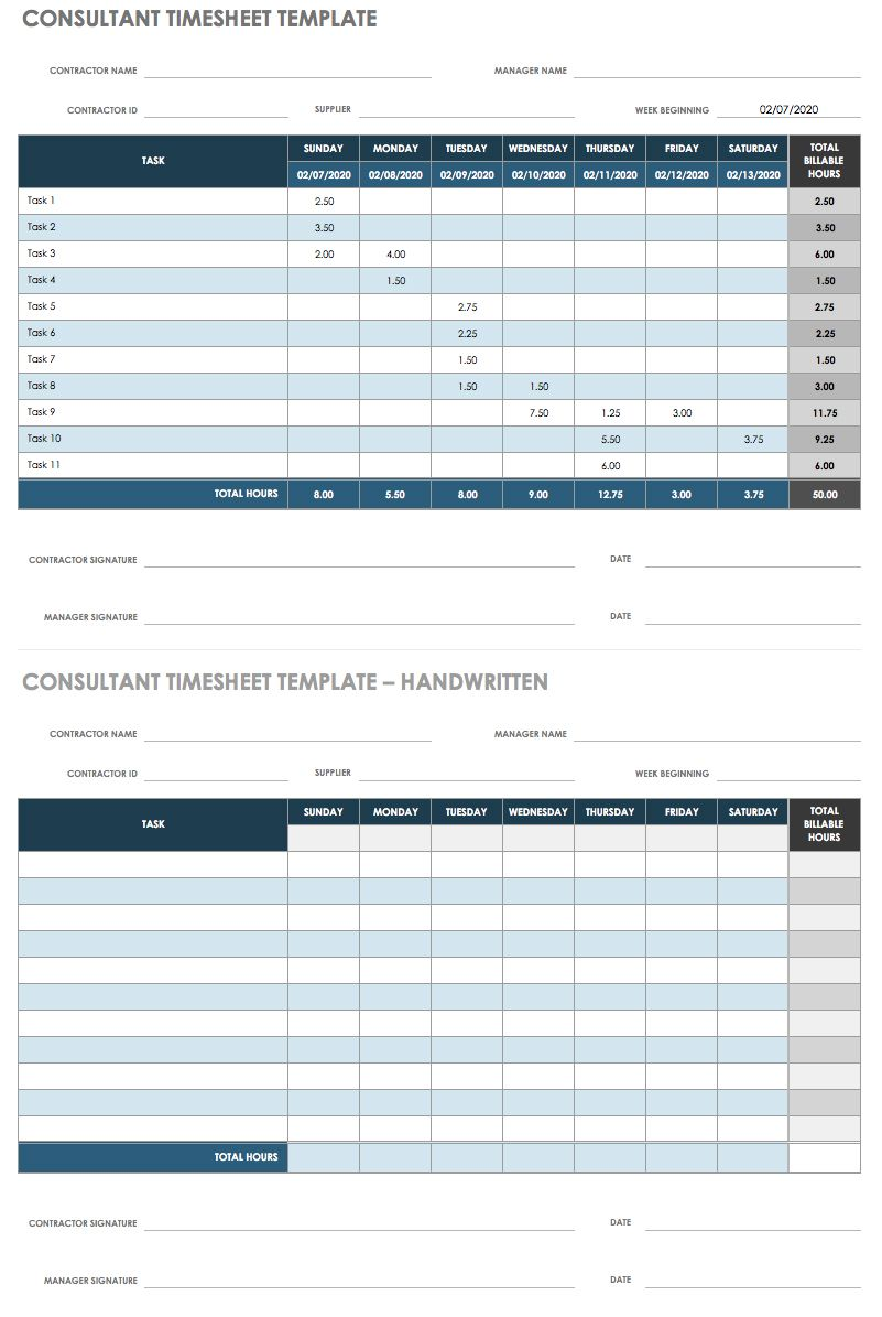 Free Printable Monthly Timesheet Template from www.smartsheet.com