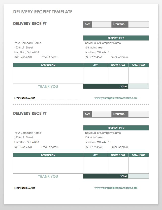 Delivery Receipt Template