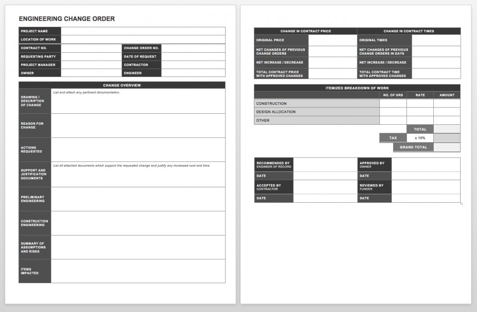 complete collection of free change order forms