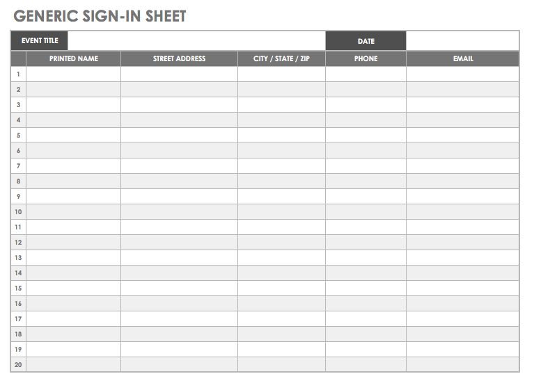 image relating to Sign in Sheets Template named Totally free Signal-inside and Indicator-up Sheet Templates Smartsheet