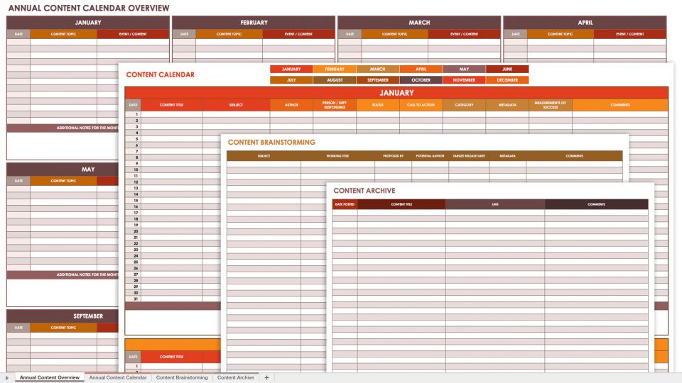 Annual Content Calendar Template