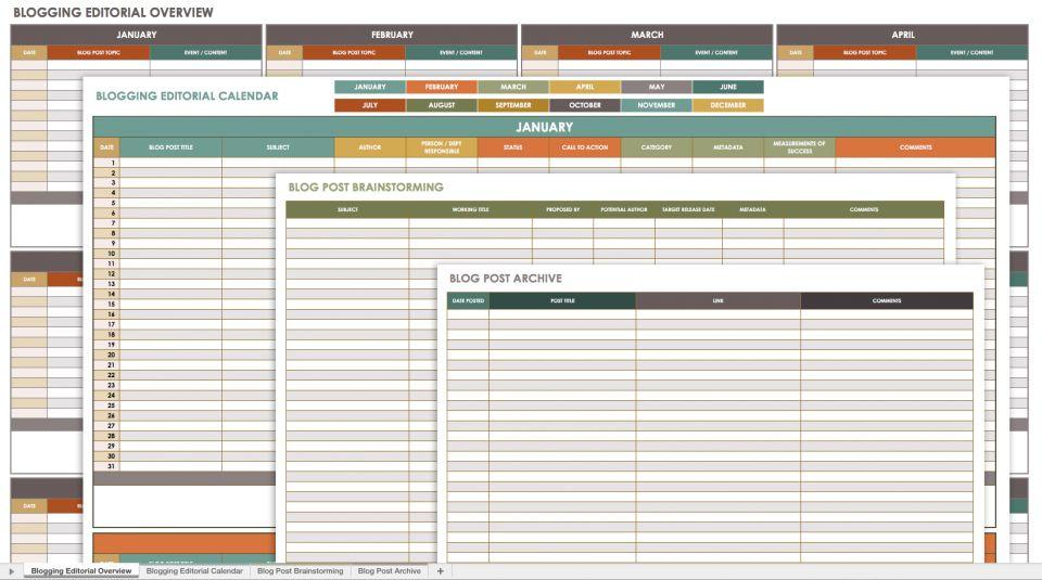 Blogging Calendar Template