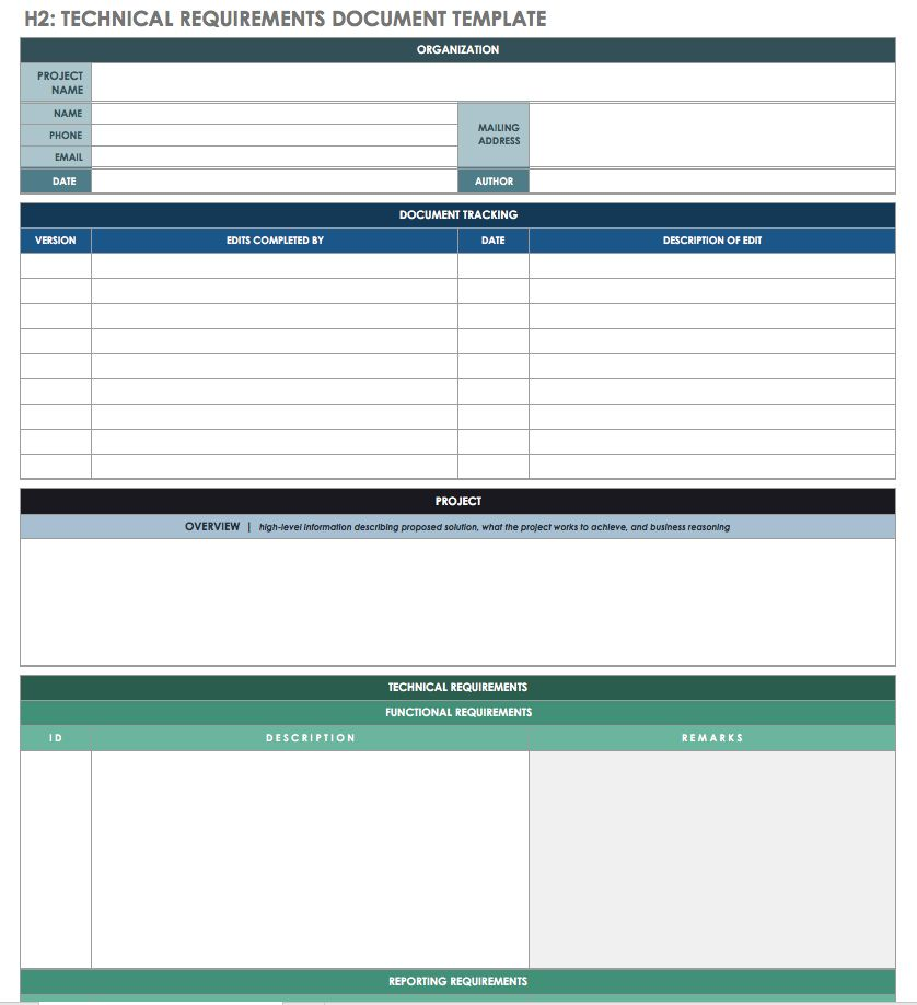 Technical Requirements Document Template