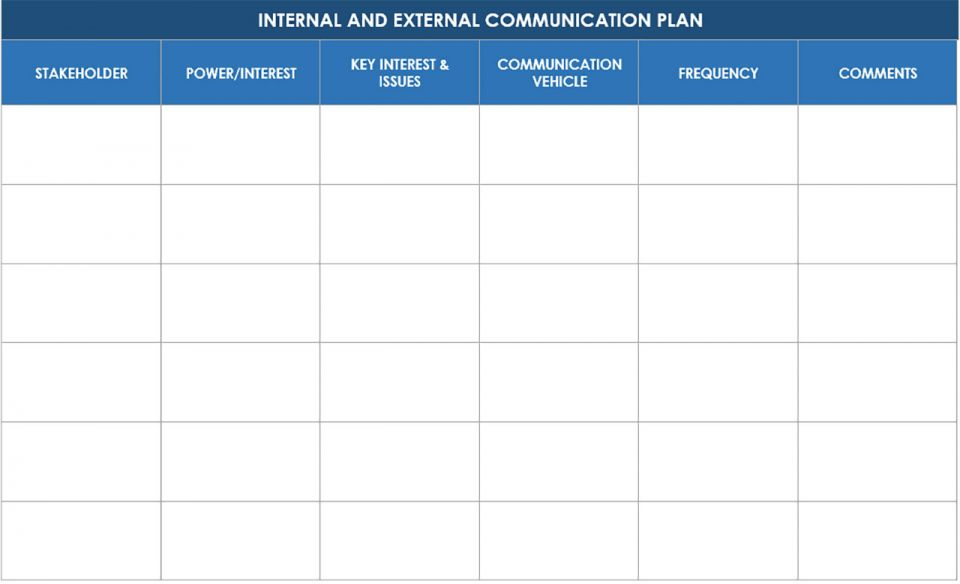 Internal and External Stakeholder Communication Plan Template
