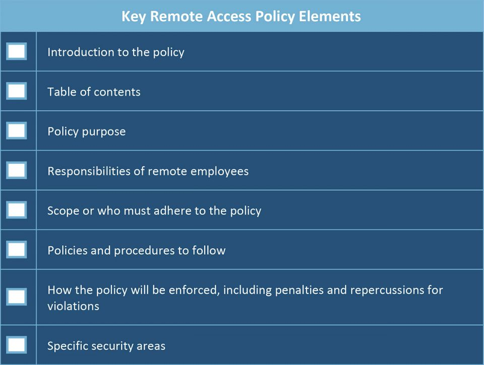 Key Remote Access Policy Elements