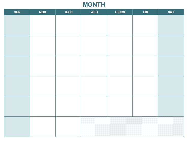 you can use this blank monthly calendar template for planning tasks and  events for any month of the year in a traditional calendar format