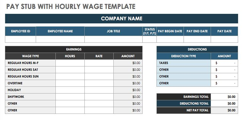 Employer Pay Stub Template from www.smartsheet.com