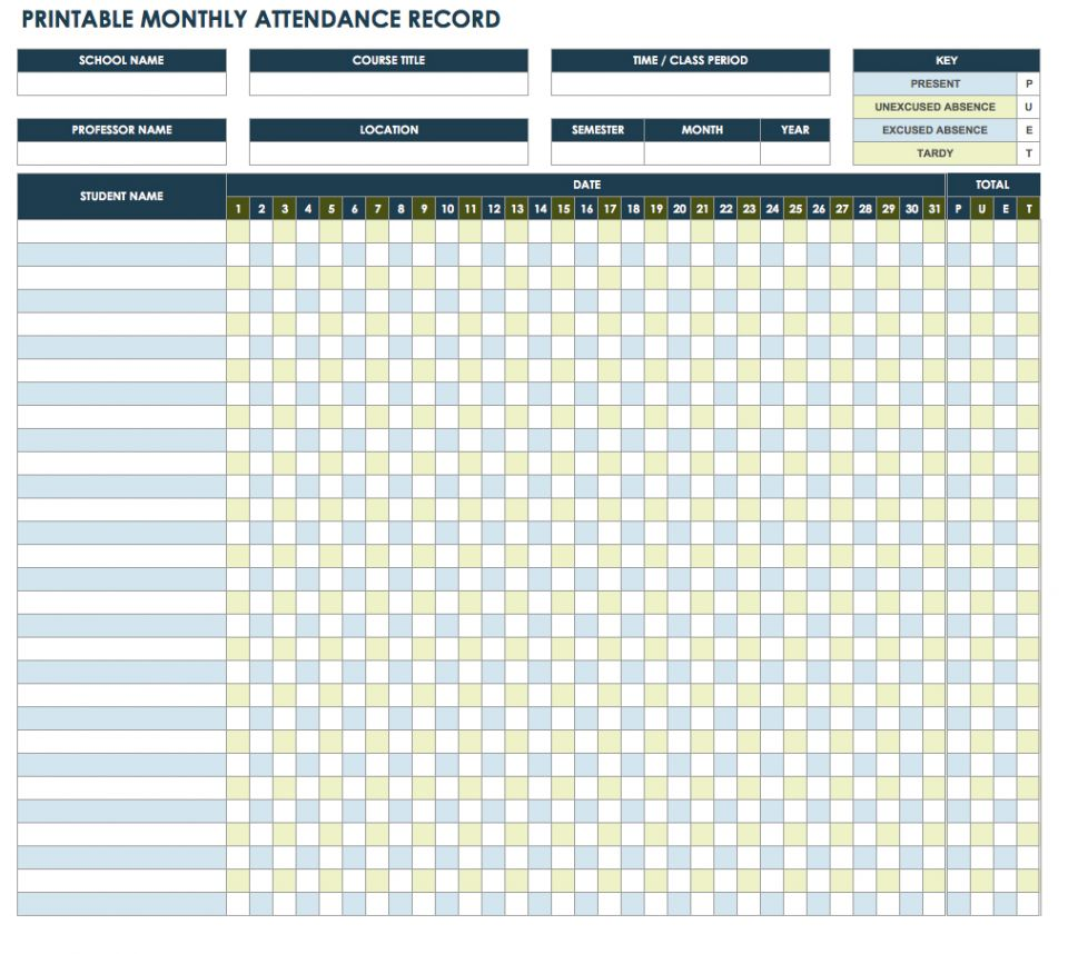 picture regarding Attendance Printable named No cost Attendance Spreadsheets and Templates Smartsheet