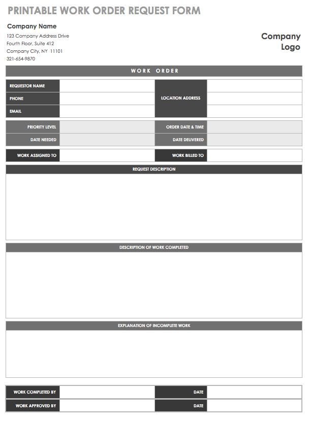 photograph regarding Printable Work Order Forms referred to as 15 Totally free Do the job Purchase Templates Smartsheet