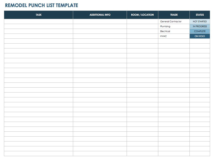 Remodel Punch List Template