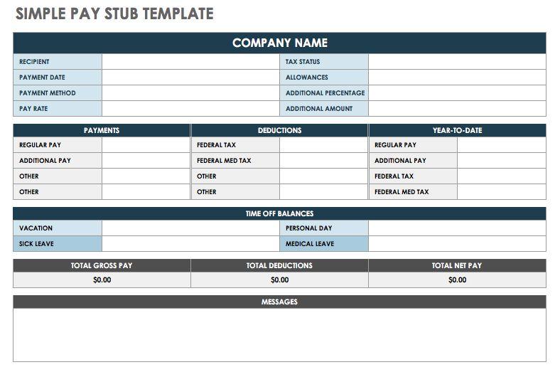 Free Pay Stub Templates Smartsheet