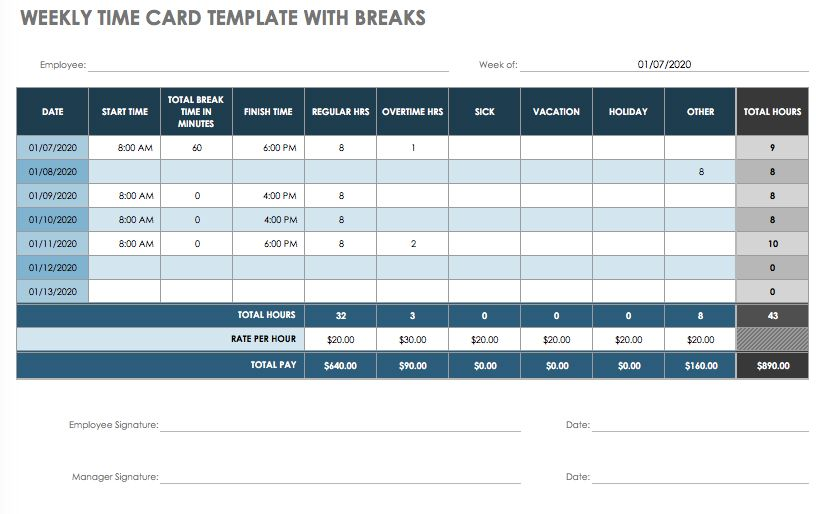 Time Card Excel Template from www.smartsheet.com
