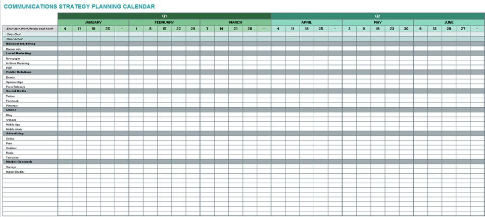 Communications Strategy Planning Calendar Template