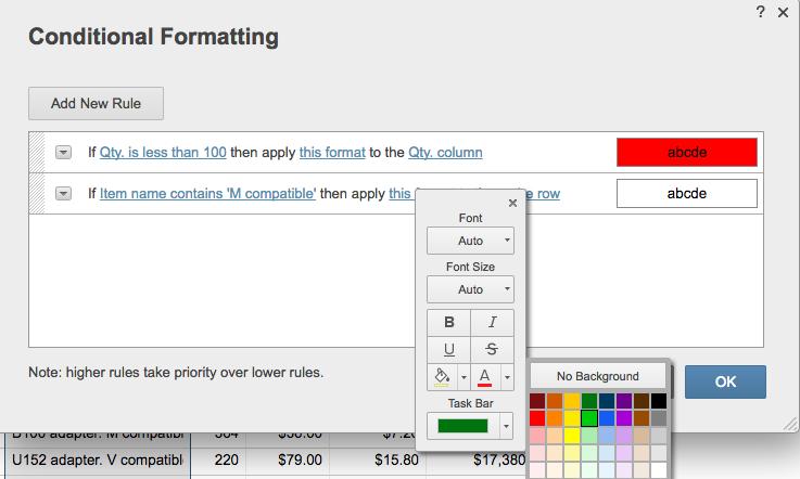Conditional formatting choose color