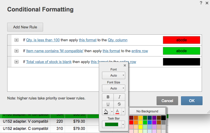 Conditional formatting rule color coding Smartsheet