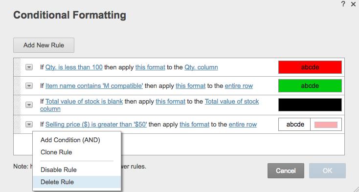 Conditional formatting delete rule Smartsheet