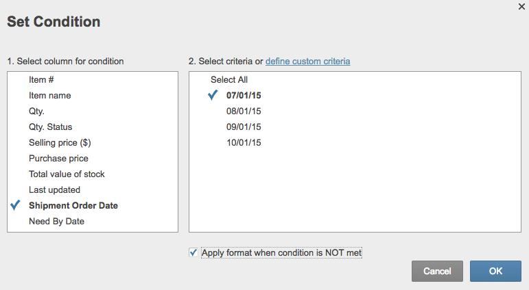 Conditional formatting condition not met Smartsheet