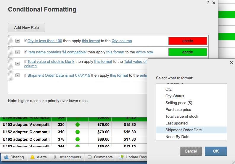 Conditional formatting add new rule Smartsheet