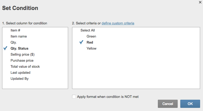 Choose quantity status Smartsheet