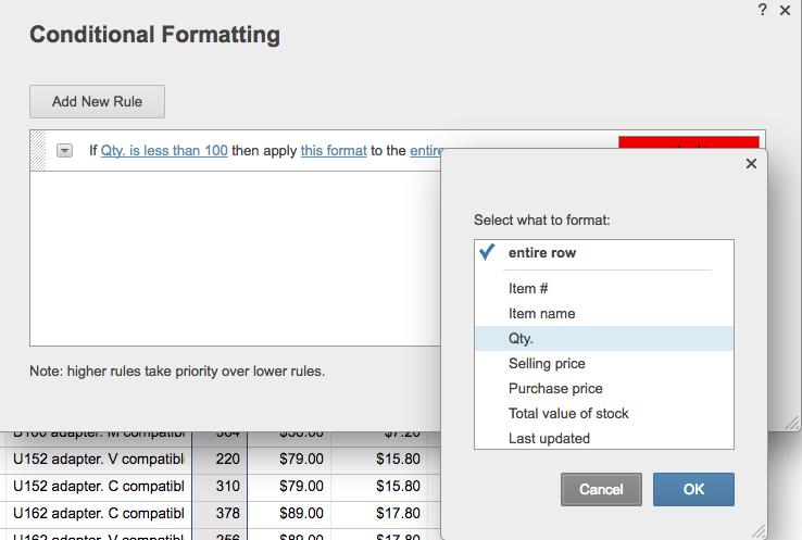 Conditional formatting quantity rule Smartsheet
