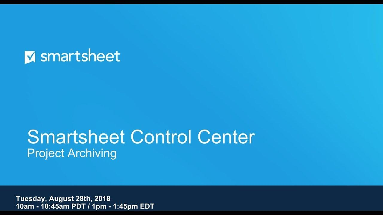 Control Center Project Archiving