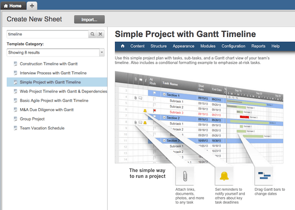 there will be a few options but for this tutorial click simple project with gantt timeline next click the blue use template button