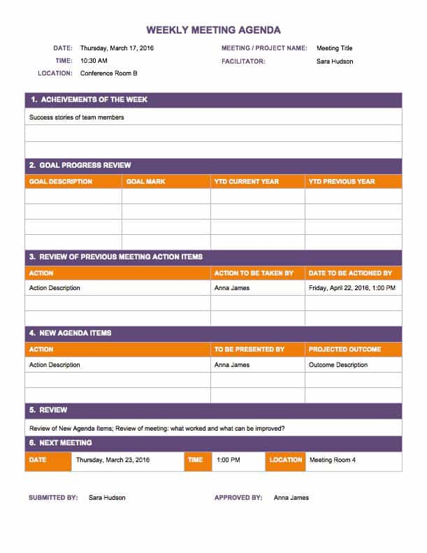 Sample Weekly Agenda. Weekly Agenda Template 2015 Sample Weekly