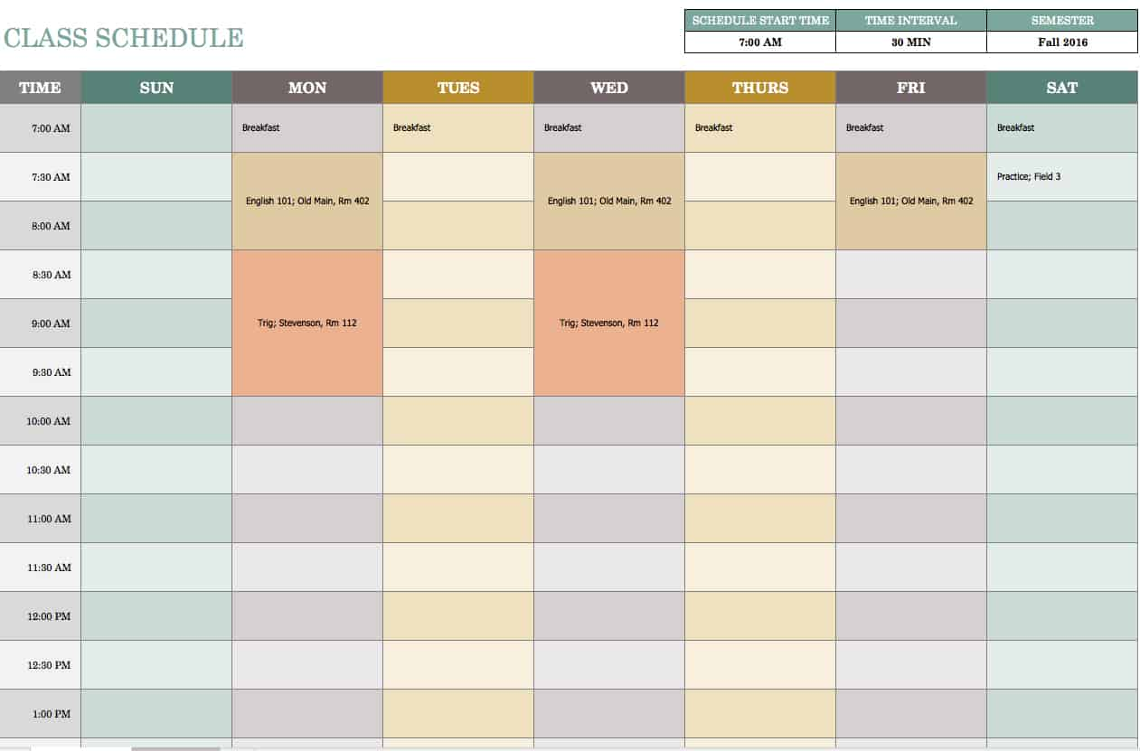 Free weekly schedule templates for excel smartsheet for Itenary template