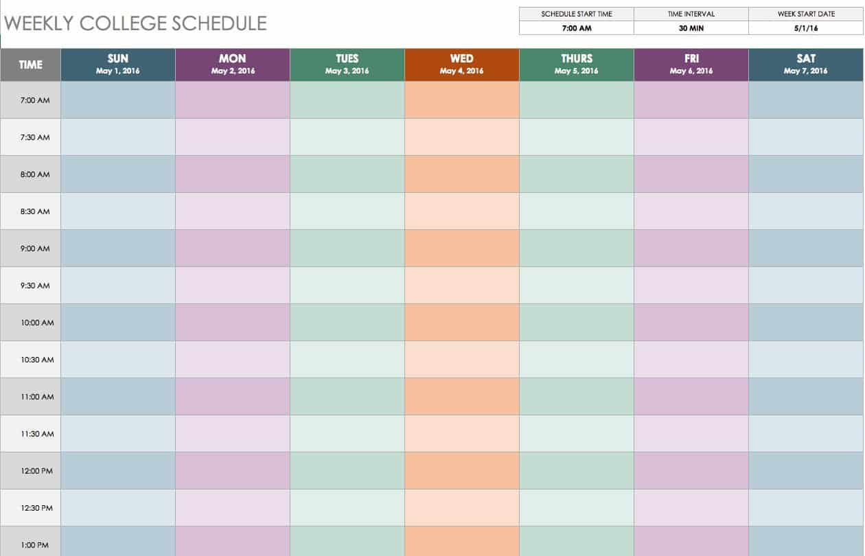 Free weekly schedule templates for excel smartsheet for Radio schedule template