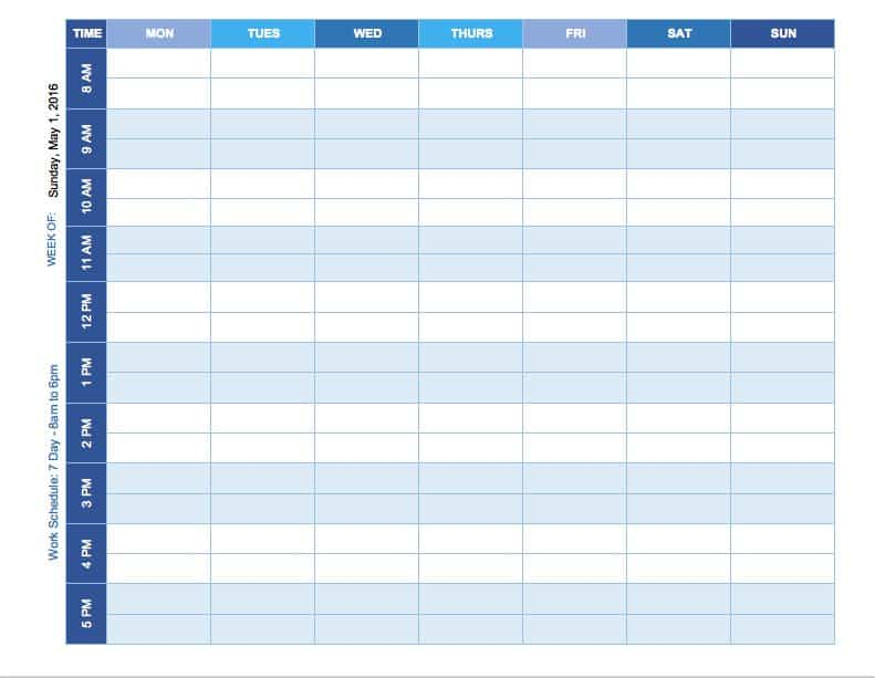 weekly schedule mon sun template - Weekly Report Template