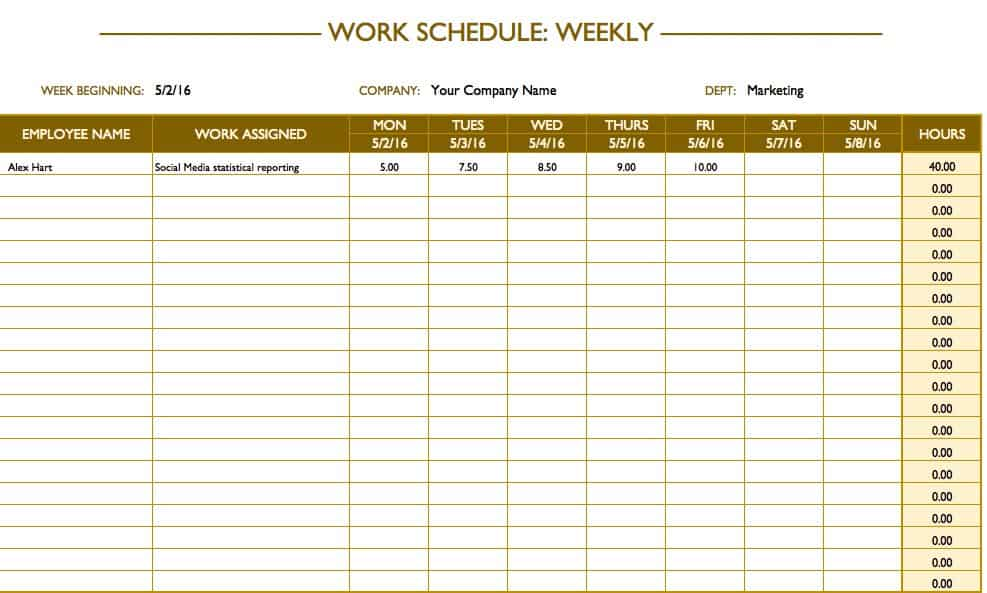 Weekly Work Schedule Templates  Days Of The Week Calendar Template