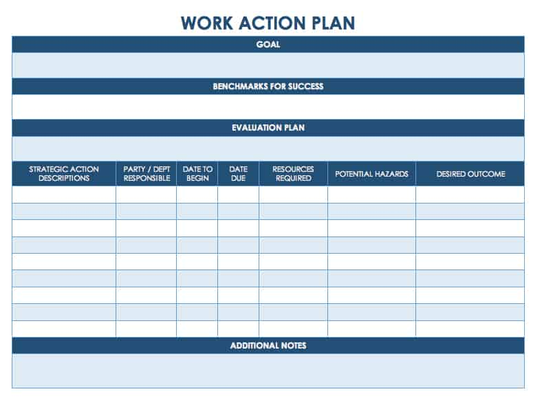 Work Action Plan Template For Word