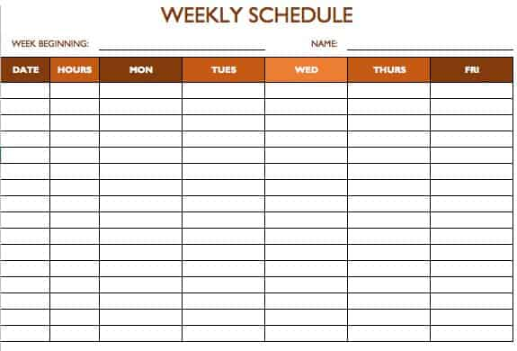 Marvelous Work Schedule Template 5 Days On Monday To Sunday Schedule Template